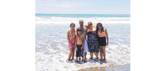 The family on holiday at Ohope Beach in 2011 (from left): Pare, Anton, Michael, Jade and keen angler Tania-Rose.