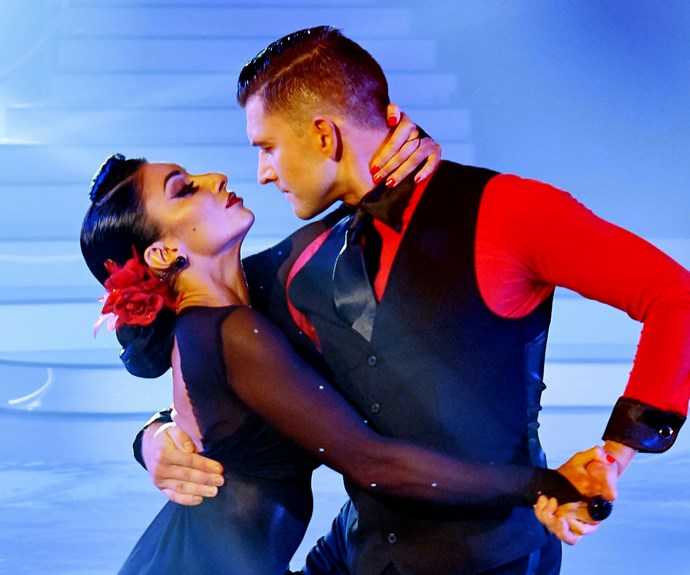 Naz competing in *Dancing With The Stars* with her dance partner Tim Mullayanov.