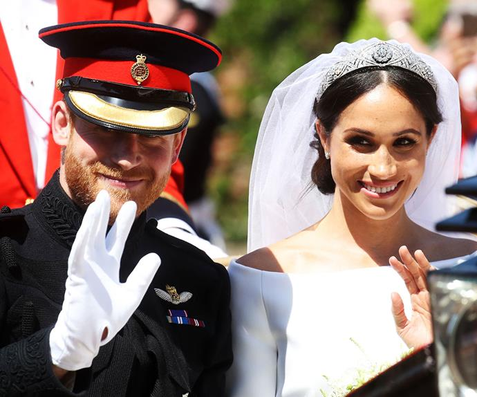 Harry and Meghan waving