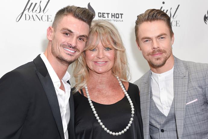 Julz with good friend Goldie Hawn and fellow dancer Derek Hough.