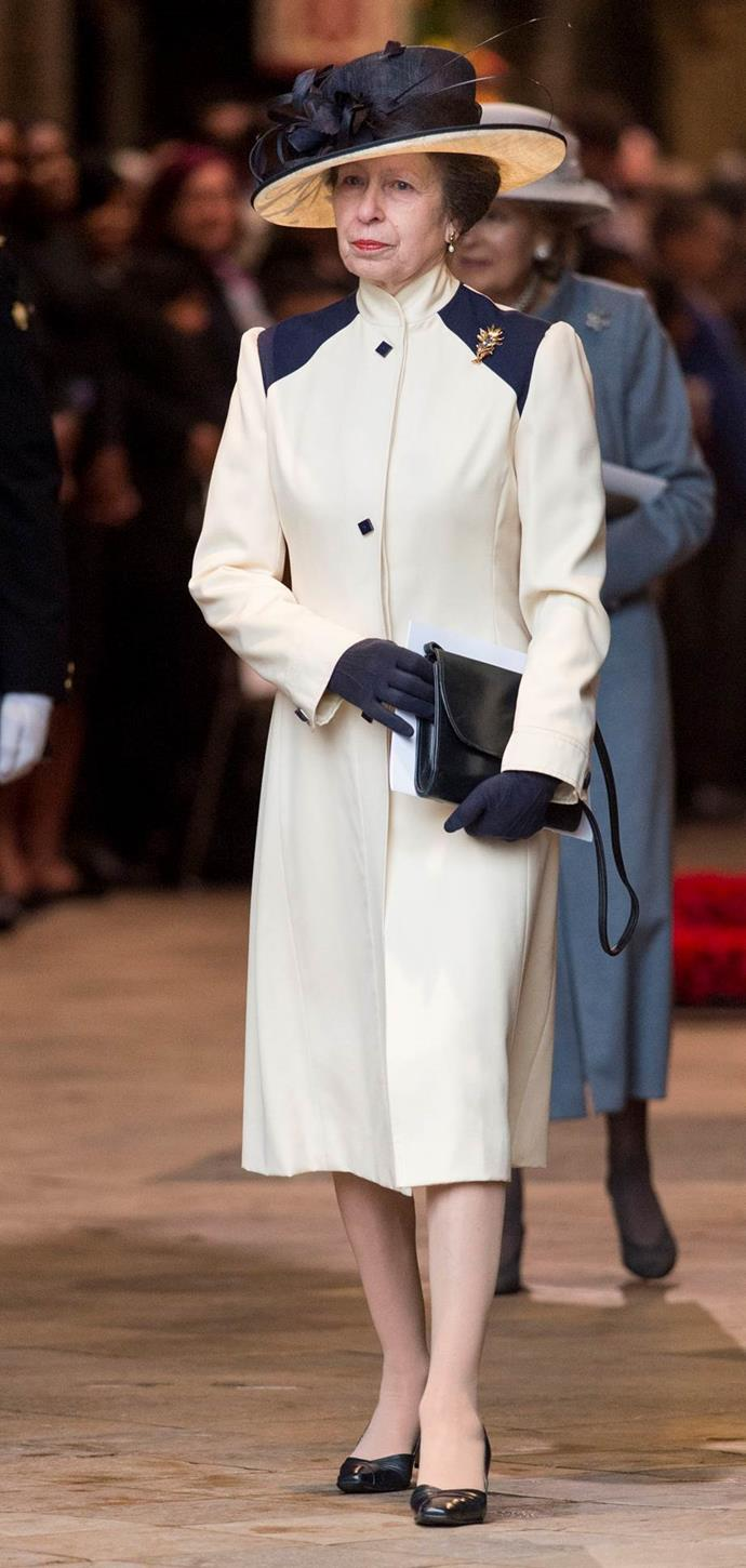 Princess Anne, was captured stepping out in a cream and navy coat for the 2018 Commonwealth Day service on March 12th 2018, which she was previously seen 32 years ago.