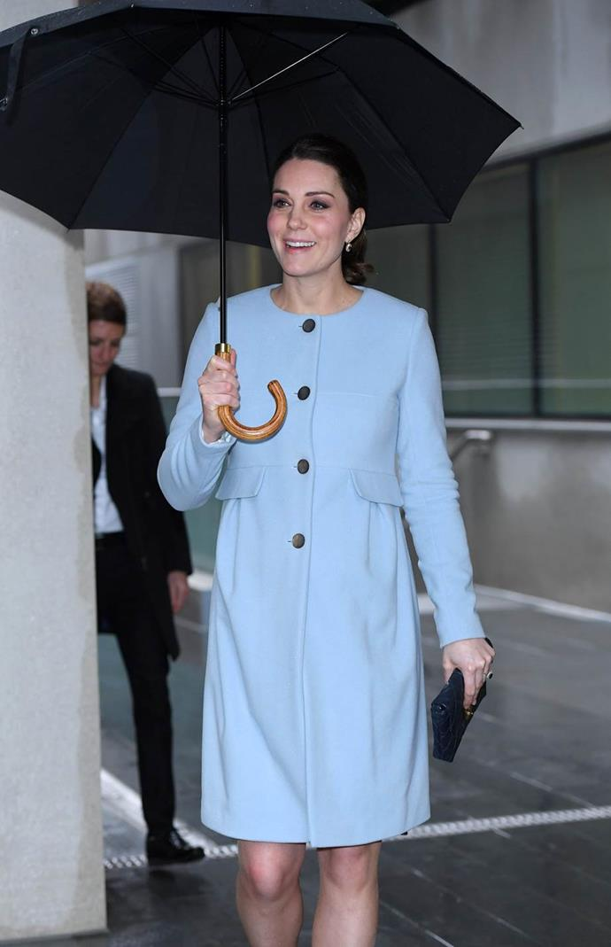 Three years later, in January this year, Catherine was sighted wearing the same blue cashmere coatdress. Here she visited the Maurice Wohl Clinical Neuroscience Institute at Kings College, where she met mothers being treated for mental health conditions.