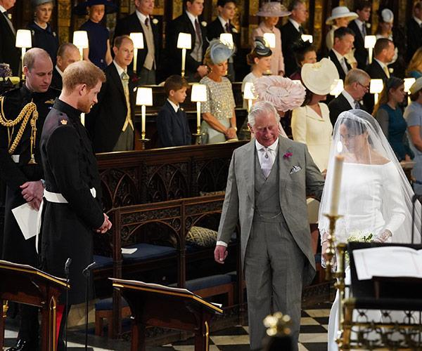 In the end Prince Charles stepped in to walk the bride down the aisle.