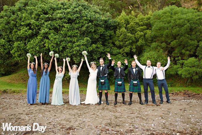 Hands up for the bridal party! Yanita and Jordan with: Stace, Shannon Caetano, Jannetta Hayden, Suzi Imes-Bryce, his brothers Morgan and Ryan Hall, Phil McCall and Johnny Par.