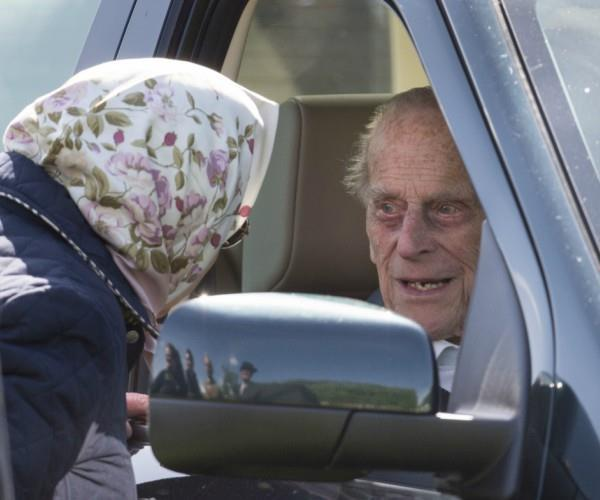 Philip was spotted behind the wheel of a Land Rover as he drove himself to the Royal Windsor Horse Show.