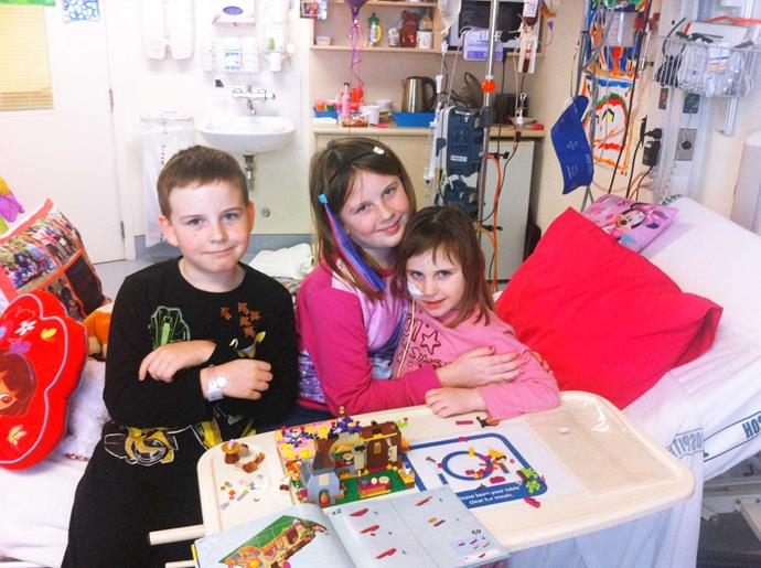 Gabby with her brother and bone marrow donor Lachlan, and big sis Ruby.