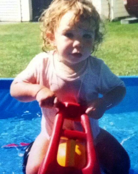 **Sarah Walker.** BMX rider and Olympic silver medallist Sarah Walker shared this throwback photo of her and her first bike - and adorable blonde ringlets.
