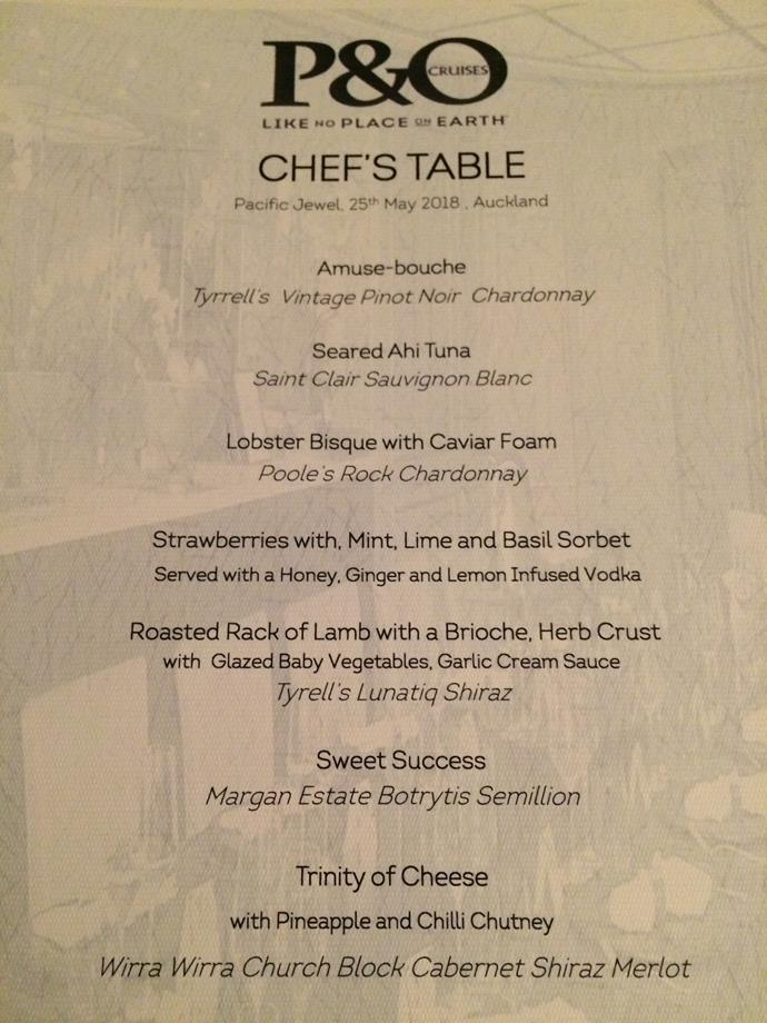 The menu for the Chef's Table. Pretty spectacular.