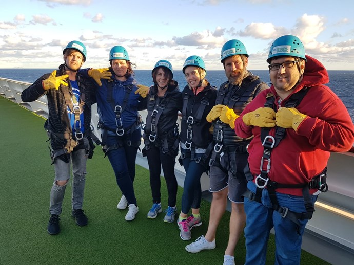 Me, third from left, with some of my cruise buddies. We were about to do the flying fox.