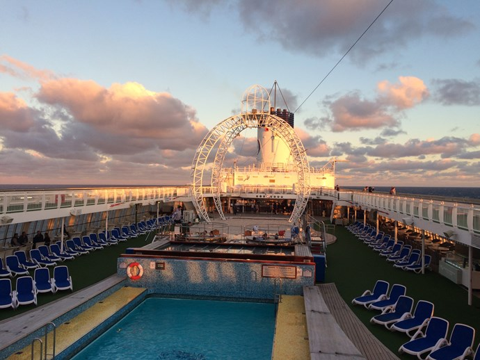 The top decks, just before sunset.