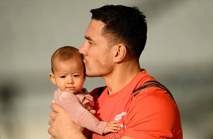 Sonny Bill Williams with daughter Aisha during All Blacks training last year.