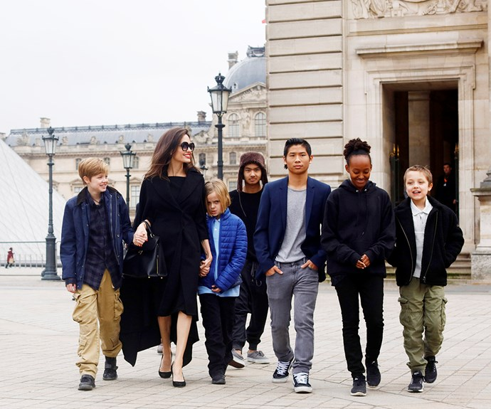 Angelina Jolie out with her six children.