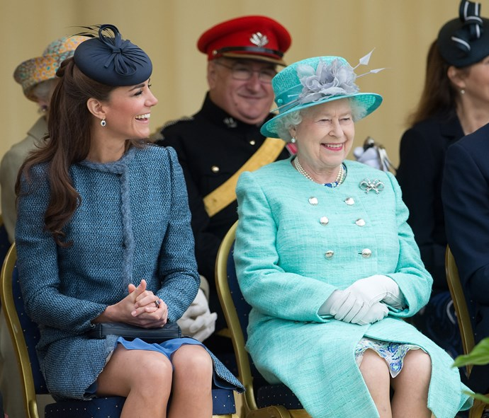 Queen Elizabeth is clearly a pro at making Kate laugh!