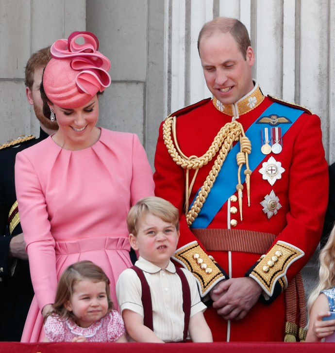 The Duchess of Cambridge, Prince William, Princess Charlotte and Prince George at the 2017 Trooping The Colour celebration.