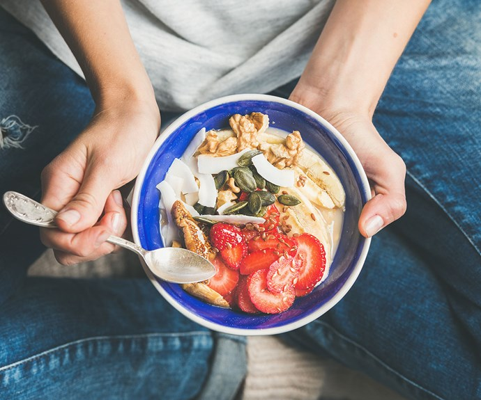 """Eat the right foods in the right amounts at the right times. You don't have to eat every two to three hours, but don't allow yourself to get to the point where you're starving and [you end up overeating](http://www.nowtolove.co.nz/health/diet-nutrition/how-to-stop-overeating-37800