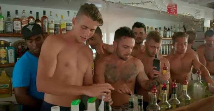 The boys working on their creations behind the bar.