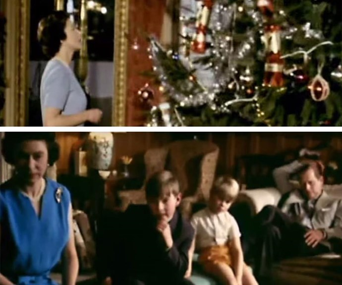 They're just like us... The Royals relax in front of the telly (bottom), while Queen Elizabeth inspects the Christmas tree.