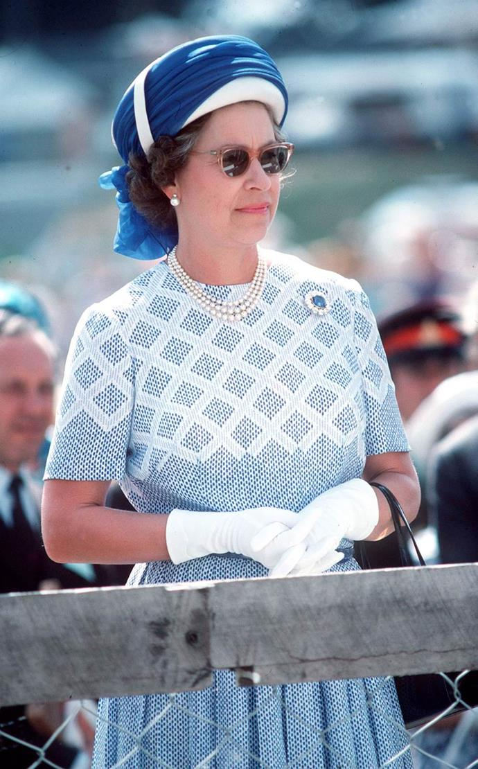 A trip to New Zealand wouldn't be complete for the Queen without a fabulous pair of frames teamed with a turban-style headdress.
