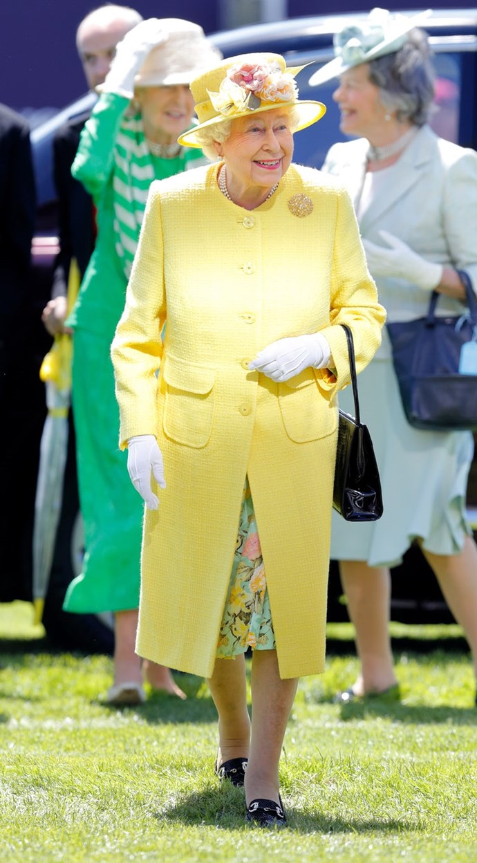 The monarch looked pretty in spring yellow at the 2017 Epsom Derby Festival.