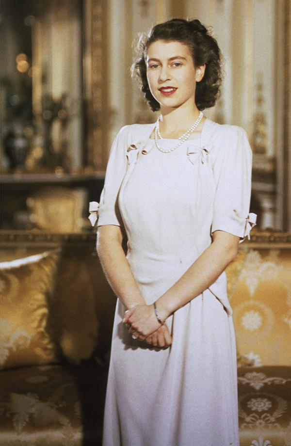 This photo was taken in 1947 at Buckingham Palace during Elizabeth's engagement to Prince Philip; she was still a princess.
