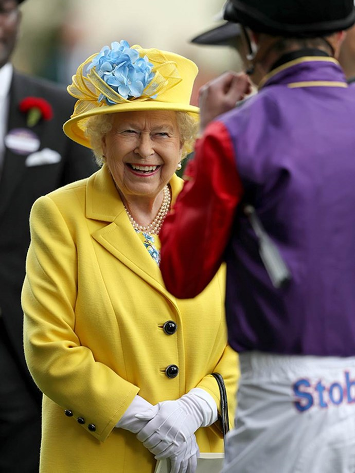 The Queen has a laugh with one of the jockeys at Royal Ascot 2018.