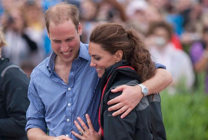William and Kate share a hug during their royal tour of Canada.