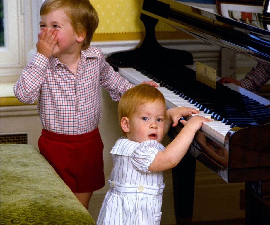 Prince William seems amused - looks like he's laughing at Harry's inability to play the piano!