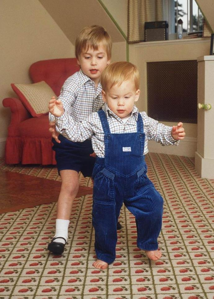 "Two years after his birth, Prince William became a big brother to Prince Henry ""Harry"" of Wales."