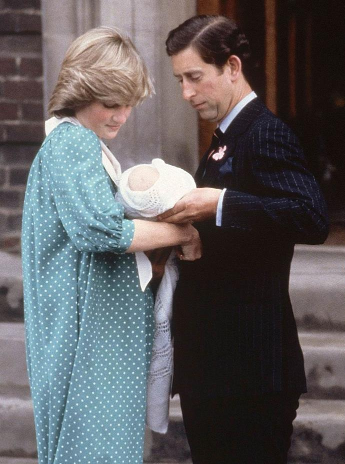 A newborn William on the steps of the Lindo Wing.