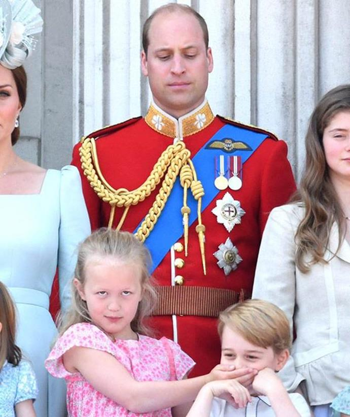 Parents around the world nodded their heads in sympathy when Prince William watched on with THIS look on his face while Savannah Phillips put her hand over Prince George's mouth at Trooping the Colour.