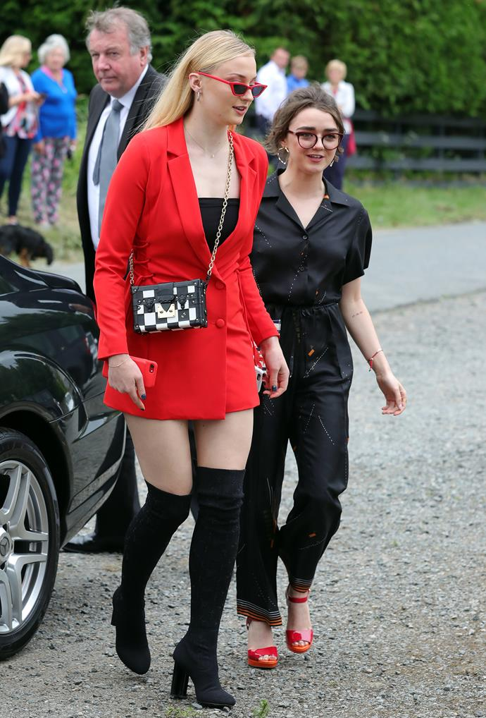 Game of Thrones actresses Sophie Turner (Sansa Stark) and Maisie Williams (Arya Stark) arrive.