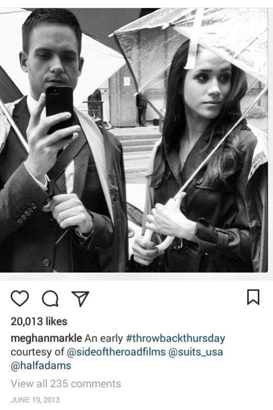 """Meghan with her *Suits* co-star Patrick J Adams. Obviously their friendship was strong, Patrick and the rest of the *Suits* gang [made an appearance at Meghan's wedding](http://www.nowtolove.co.nz/celebrity/royals/celebrity-guests-at-prince-harry-and-meghan-markle-royal-wedding-37814