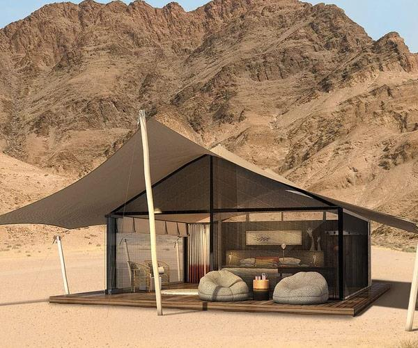 A red hot tip suggested the couple could stay in luxury Namibian camp, Hoanib Valley Camp.
