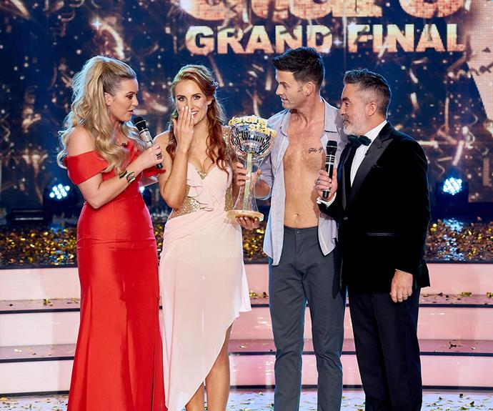 Sam and Aaron share their disbelief with DWTS presenters Sharyn Casey and Dai Henwood.