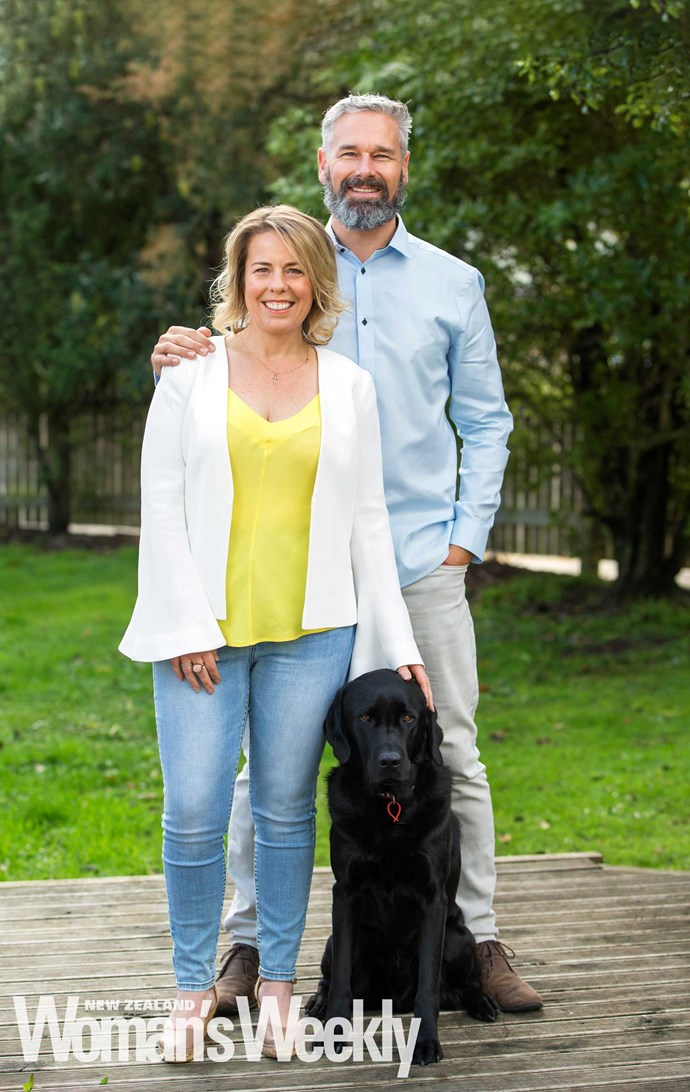 Kath with hubby Mark and Fox the dog.