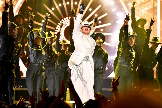 Anjula strutting her stuff during J-Lo's showstopping performance at this year's Billboard Music Awards.