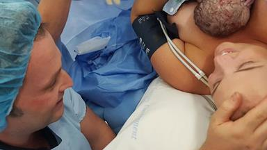 An Australian midwife's incredible images of her helping deliver her own baby by caesarean section