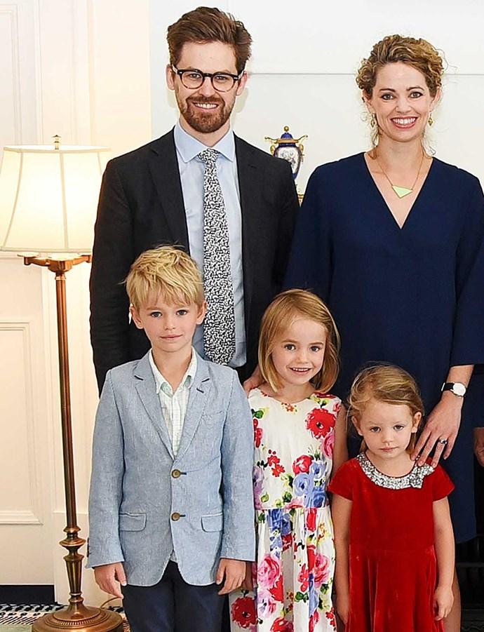 British High Commissioner Laura, husband Toby and children Blake (8), Nell (6) and Margot (4).