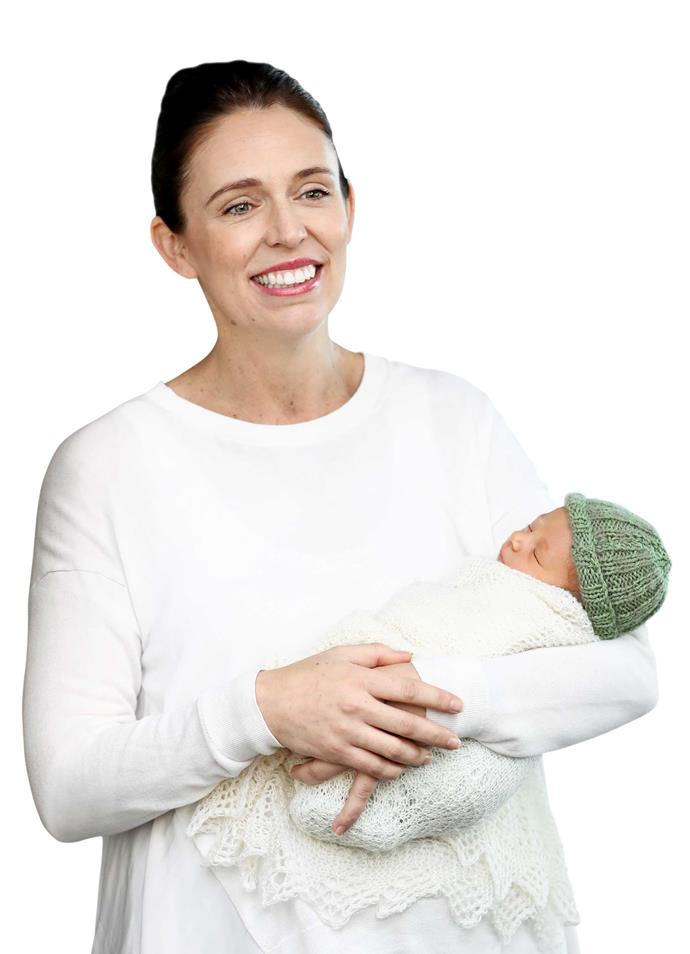 Prime Minister Jacinda Ardern with baby Neve.