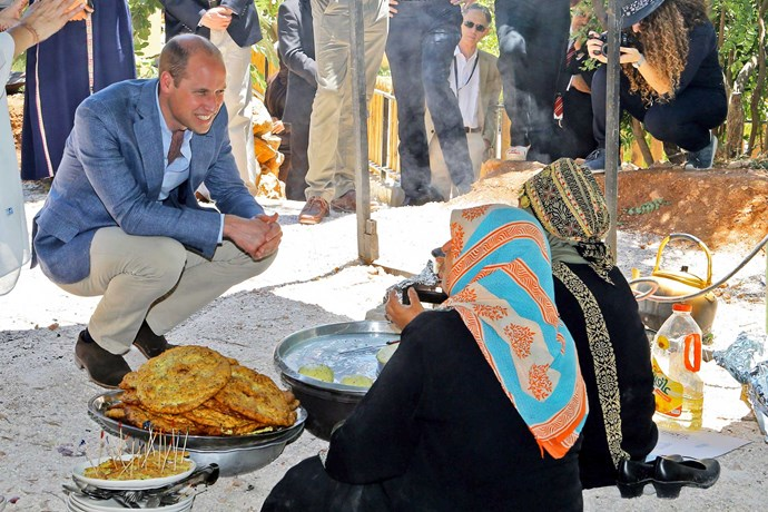 The duke got a lesson in frying bread, then found out more about the Dar Na'mah Centre, which supports orphaned women (right).