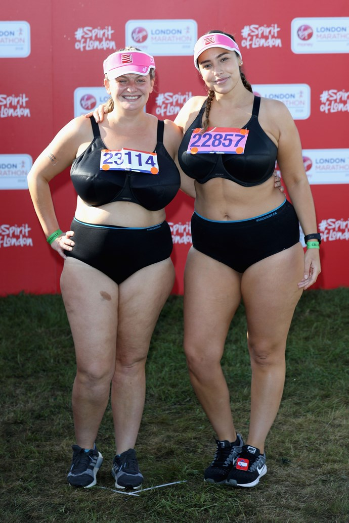 Bryony Gordon, left, and Jada Sezer, ran the 2018 London Marathon in their underwear to encourage women to love and accept their bodies. This was Bryony's second marathon!