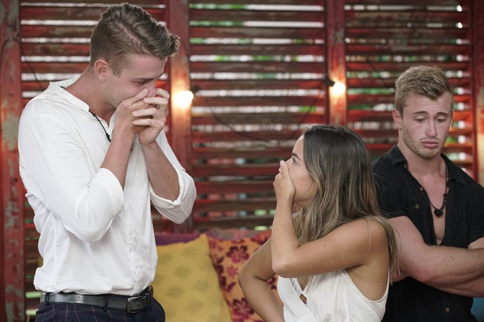 Harry and Georgia discovering they'd won *Heartbreak Island*.