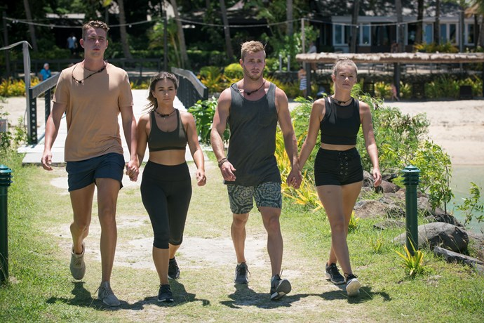 Harry Jowsey, Georgia Bryers, Joshua Frankhauser and Ruby Mills competing in the final episode of *Heartbreak Island*.