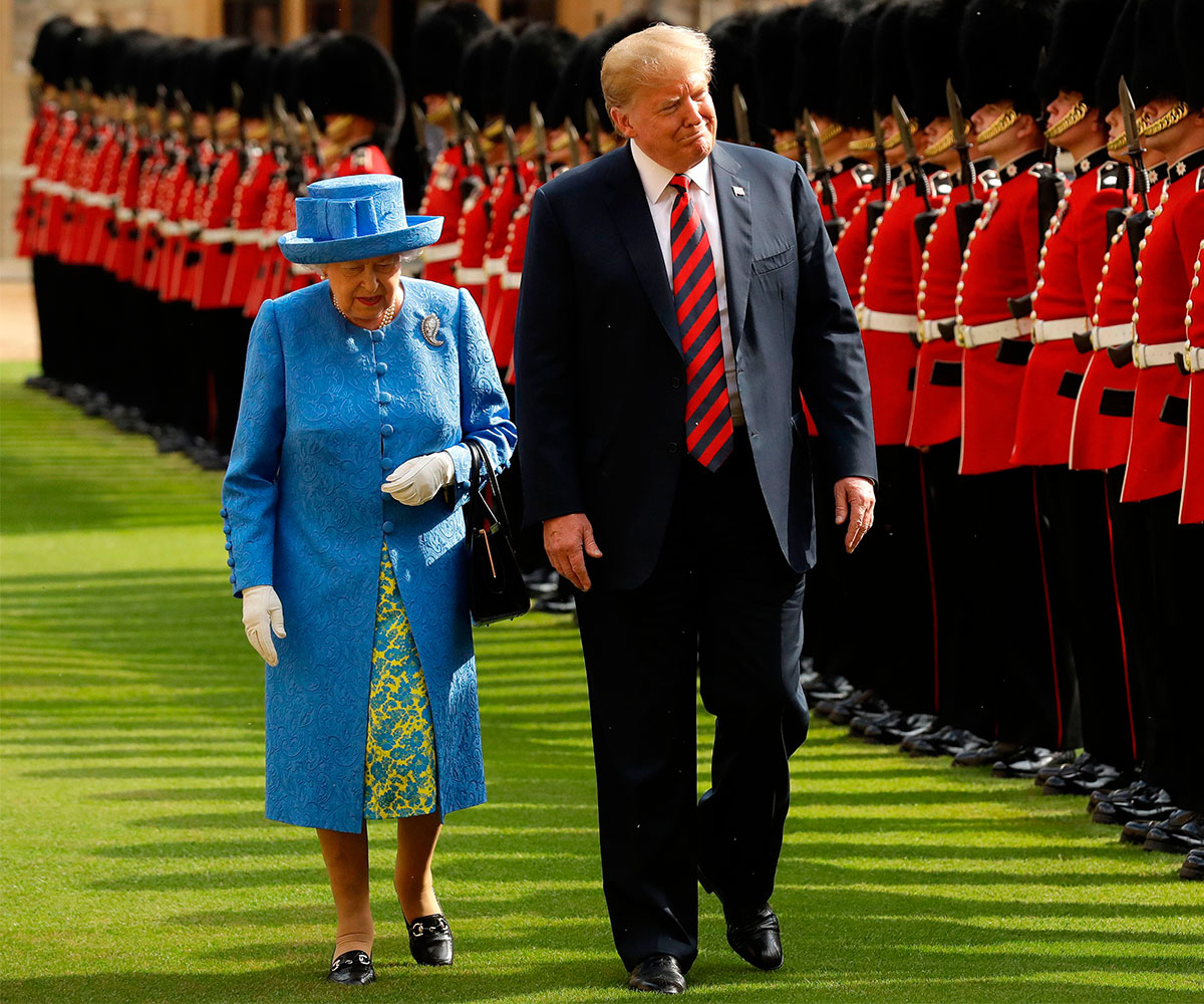 Trump wrongly says queen reviewed guard for 1st time in 70 years