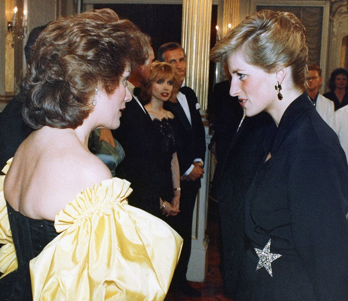Chatting with Princess Diana after performing at the Prince's Trust Gala in 1989.