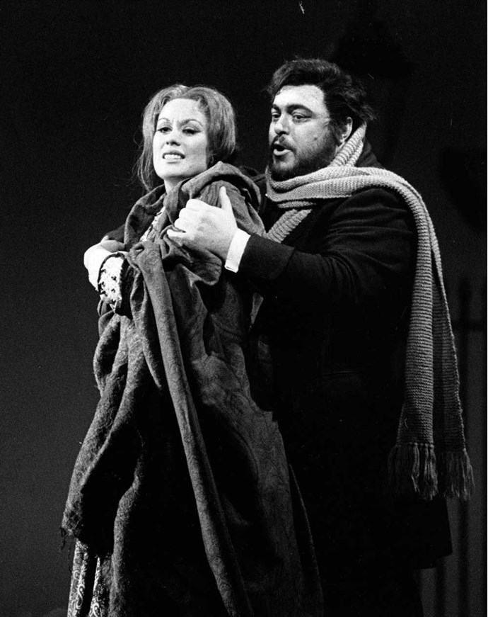 On stage with the late Luciano Pavarotti in 1976.