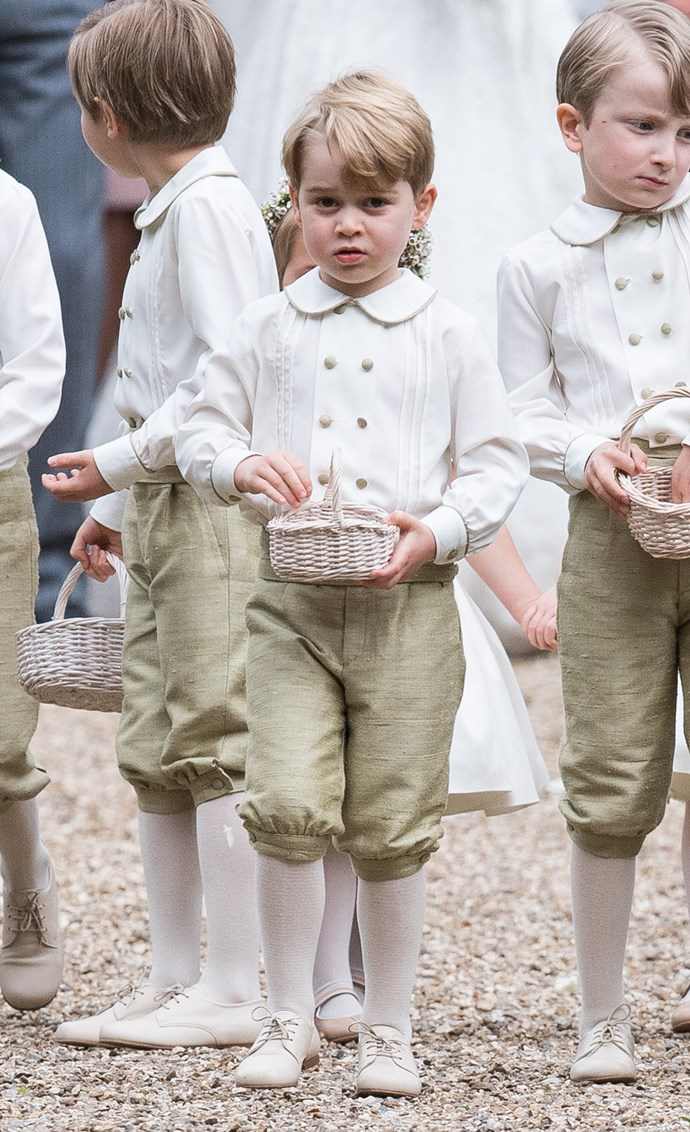 """Prince George was a page boy at auntie [Pippa Middleton's wedding](http://www.nowtolove.co.nz/lifestyle/weddings/pippa-middletons-wedding-photo-album-32512