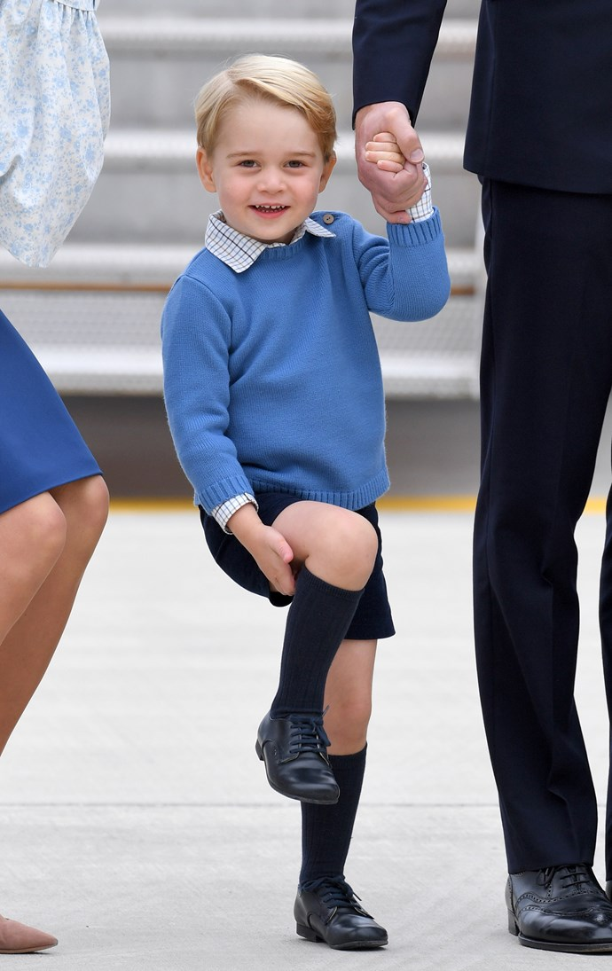When the royals arrived in Canada for a royal tour, George fixed his sock up for the cameras!