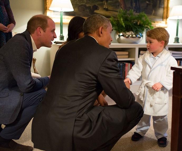 Meeting former US president Barack Obama in his PJs.