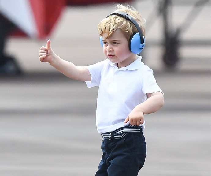 Prince George gives the thumbs up at The Royal International Air Tattoo.